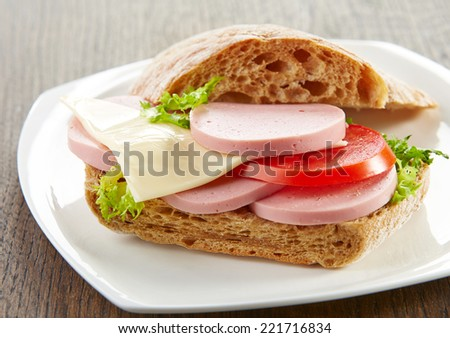 sandwich with sausage and tomato on white plate - stock photo