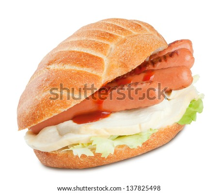 Sandwich with sausage ketchup salad and mozzarella cheese. - stock photo