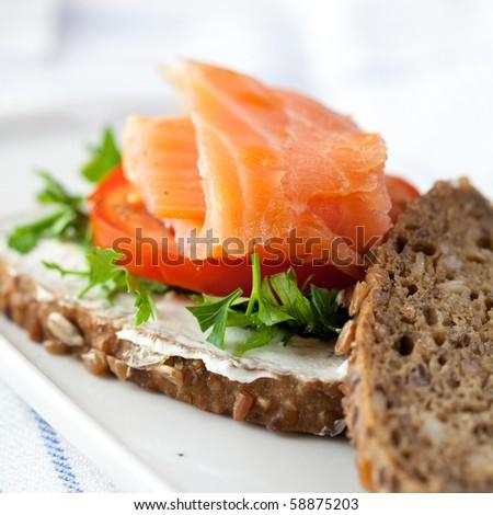 Sandwich with smoked salmon - stock photo
