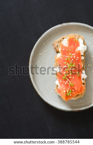 Sandwich with smoked salmon, cottage cheese, garden cress and sesame seeds. Selective focus. - stock photo