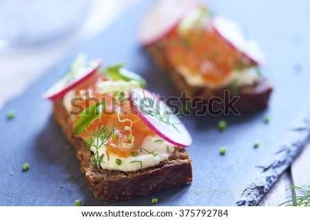 Sandwich with smoked salmon, radish and cream sauce - stock photo