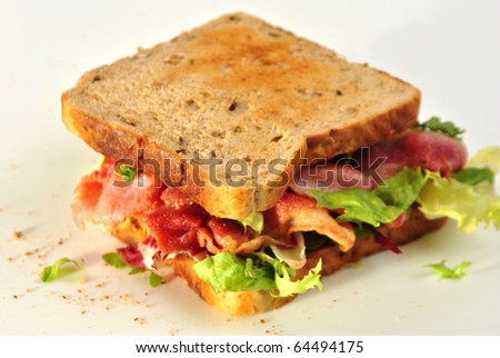 sandwich with some organic bacon and salad