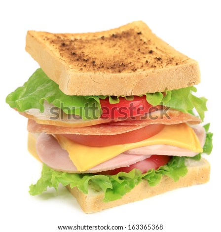 Sandwich with tomato and cheese. Isolated on a white background.
