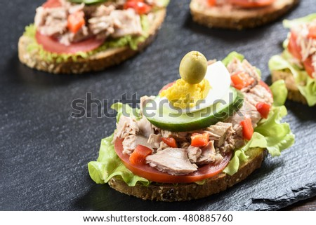 sandwich with tuna and tomato on a stone plate