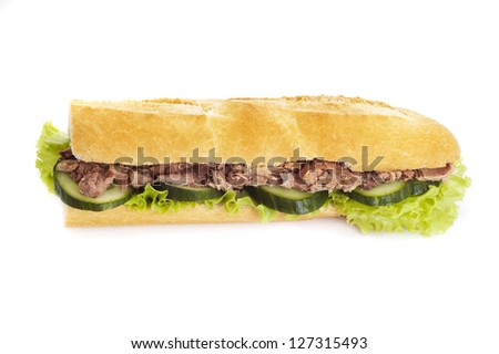 sandwich with tuna, cucumbers and lettuce