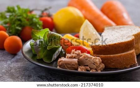 Sandwich with tuna,healthy food - stock photo