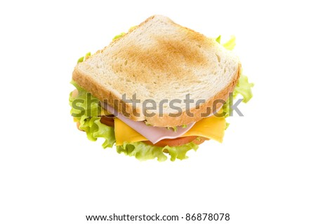 sandwich with vegetables, meat and cheese isolated on white background