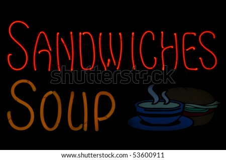 Sandwiches and Soup Neon Light Sign - stock photo