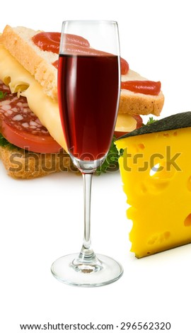 sandwiches, cheese and a glass of wine - stock photo