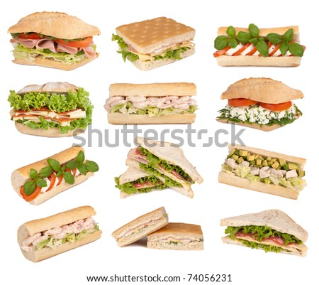 Sandwiches isolated on white - stock photo