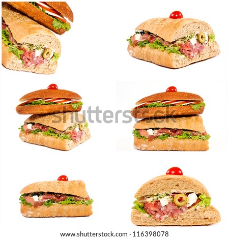 Sandwiches isolated on white collage - stock photo