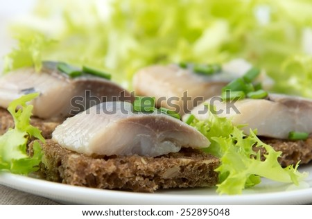 Sandwiches of rye bread with herring - stock photo