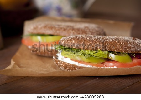 sandwiches with cheese and vegetables
