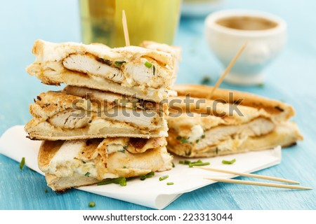 Sandwiches with chicken - stock photo