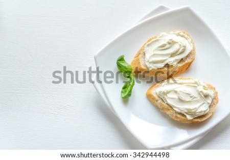 Sandwiches with cream cheese - stock photo