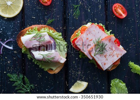 sandwiches with different fillings near the vegetables and spices - stock photo