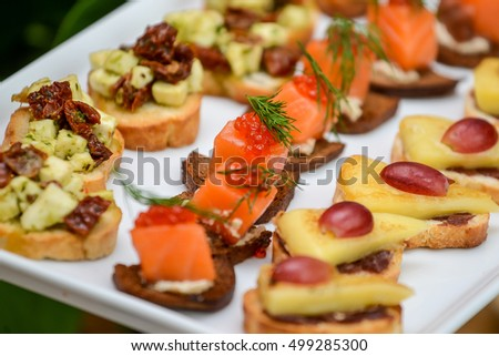 Sandwiches with fish and caviar restaurant