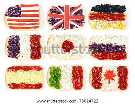 Sandwiches with images of the different flags. Isolated on a white background - stock photo