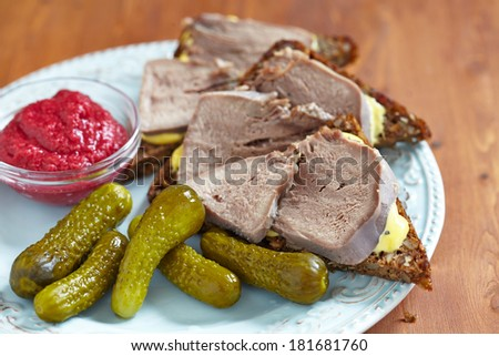 Sandwiches with pork tongue - stock photo