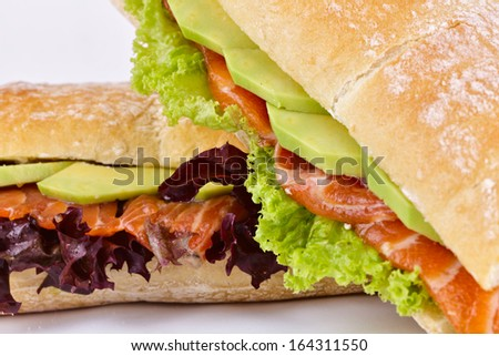 Sandwiches with salmon and avocado