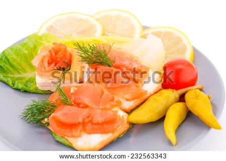 Sandwiches with salmon fillet on gray plate isolated on white background.