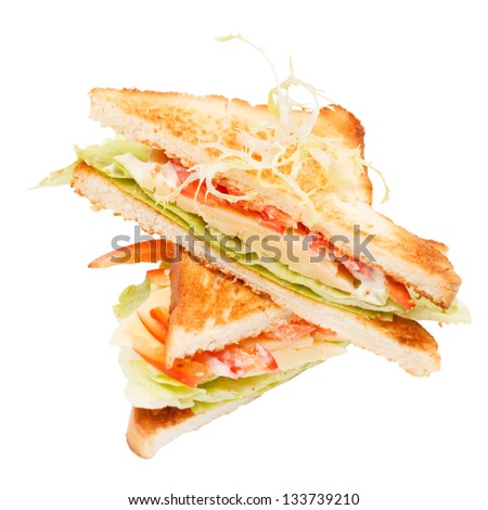 sandwiches with vegetables and cheese - stock photo