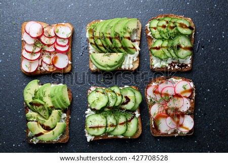 sandwiches with vegetables, food top view