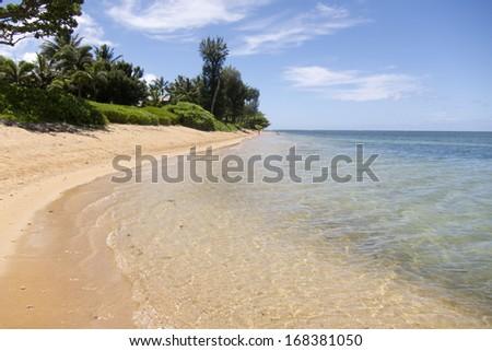 Sandy beach and sea waves in Kauai, Hawaii - stock photo