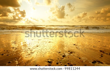 Sandy beach at golden sunset - stock photo