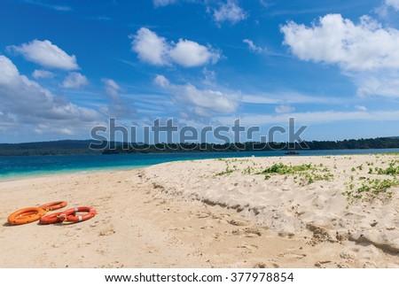 sandy beach at Jolly bouy island, port blair, Andaman and Nicobar,  India  - stock photo