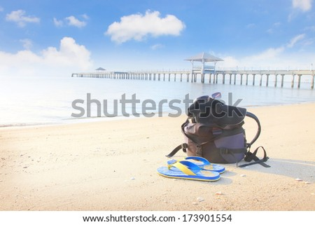Sandy beach morning time with blue sky  - stock photo