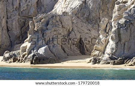 Sandy Beach near El Arco rock formation in Mexico - stock photo