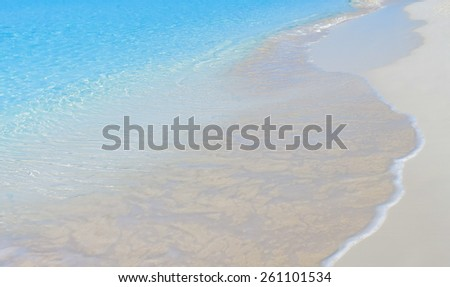 Sandy beach of Bahamas, Half Moon Cay. - stock photo