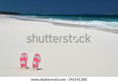 Sandy beach of Little Exuma, Bahamas  - stock photo