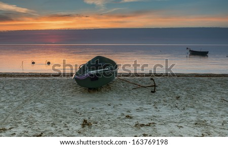 Sandy beach of the Baltic Sea at dawn, Latvia, Europe - stock photo