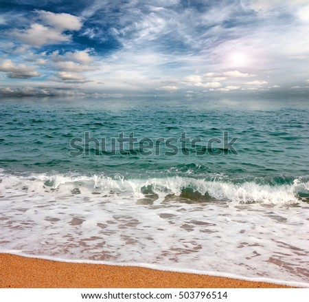 sandy beach of the Mediterranean Sea and the beautiful sky