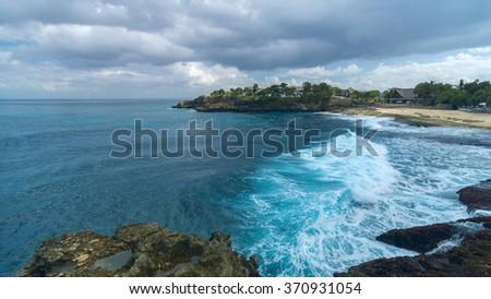 Sandy beach on asian island in the summer sunny day - stock photo
