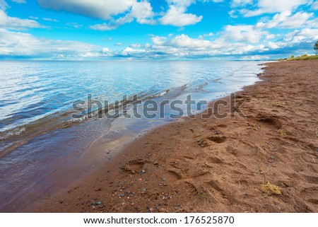 Sandy Beach Overlooking Beautiful Lake Superior in the Afteroon
