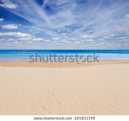 sandy beach  shore with sea waters and  blue sky - stock photo