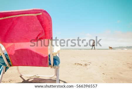 Sandy Beach With A Pink Chair Woman Walking On The Sand Dog