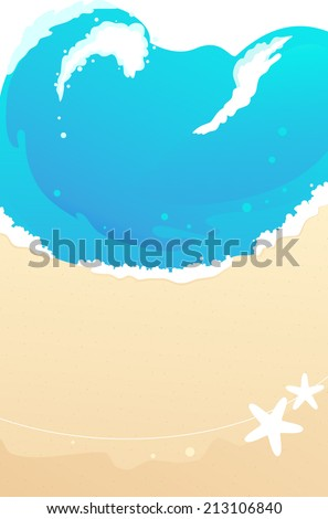 Sandy beach with foaming waves - stock photo