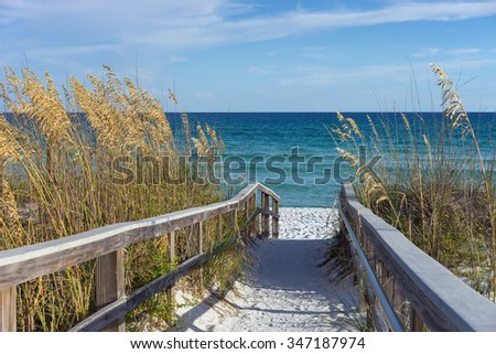 Sandy boardwalk path to a snow white beach on the Gulf of Mexico with ripe sea oats in the dunes - stock photo