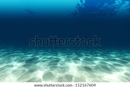 Sandy bottom, blue and surface underwater 3d - stock photo
