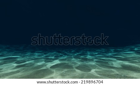 Sandy bottom, blue and surface underwater 3d panorama  - stock photo