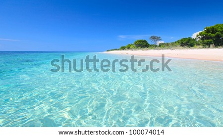 Sandy coast and clear sea of the Bali Barat National Park - stock photo