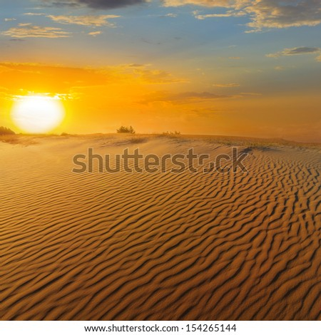 sandy desert at the sunset - stock photo