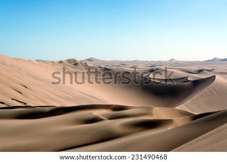 Sandy desert landscape near Huacachina, Peru - stock photo