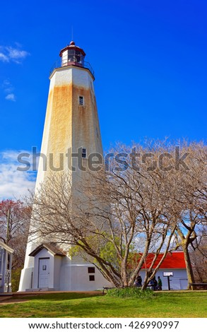 Sandy Hook Light house tower. It is the oldest lighthouse still working now. Sandy Hook is located in Highlands in Monmouth County of New Jersey, USA