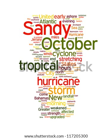Sandy Hurricane related word in tag cloud. White background - stock photo
