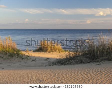Sandy Kauksi beach, lake Peipsi in Estonia. Water, horizon. - stock photo
